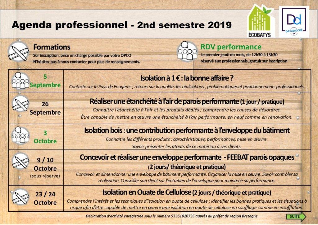 agenda professionnel du 5 septembre au 24 octobre 2019